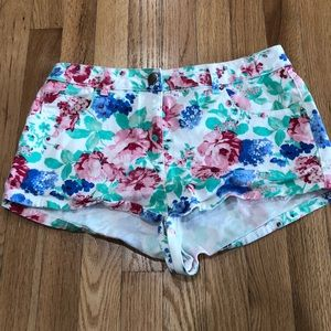 ASOS Floral Denim Short Shorts